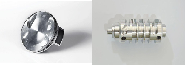 Four-stroke-specific revisions for 2014 include a revised piston for the 250 RR (left) and a new shift drum designed to ease shifting.