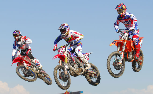 Team USA Motocross of Nations riders Justin Barcia (left), Eli Tomac (center) and Ryan Dungey (right) geared up and took a few laps for the US press at Lake Elsinore Motorsports in Southern California today. The three-man squad hopes to return Team USA to its winning ways at the prestigious international event in September. PHOTO BY SCOTT ROUSSEAU