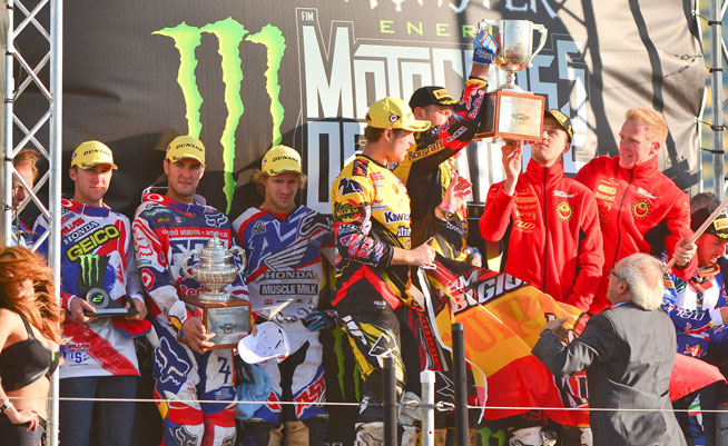 Team USA (left) had high hopes to regain the Chamberlain Trophy at the 2013 Motocross of Nations in Germany, but the Americans were upset by Team Belgium (right). PHOTO BY STEVE COX