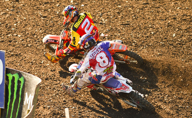 Germany's Ken Roczen (2) and USA's Eli Tomac (8) battled in Germany just like they did all season in AMA racing. Roczen prevailed in his home country after Tomac crashed in Moto 1 and finished second to Roczen in Moto 2. PHOTO BY STEVE COX