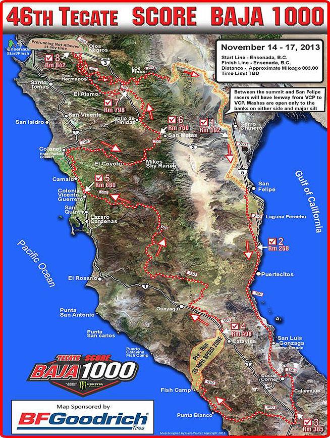 Baja 1000 Map Tecate SCORE Baja 1000 Course Map Available   Dirt Bikes
