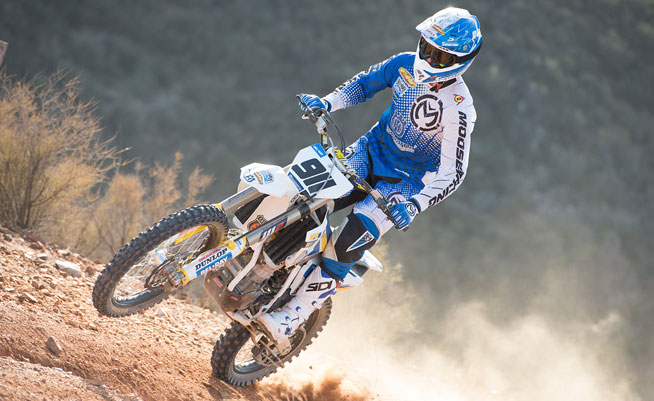 Jacob Argubright celebrated his 23rd birthday in style by giving Husqvarna's US off-road team its first victory of 2014 at the opening round of the AMA West Hare Scrambles Championship Series in Arizona this weekend. PHOTO COURTESY OF HUSQVARNA.