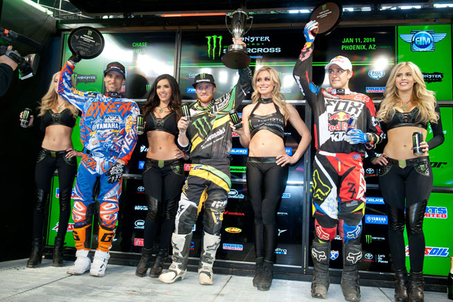 Left to right: Justin Brayton, Ryan Villopoto and Ryan Dungey pose on the Phoenix podium. Villopoto's win also allowed him to take over the series points lead heading into Anaheim for round three.