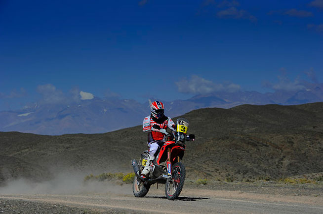 HRC Honda's Joan Barreda won Stage 3 of the 2014 Dakar Rally in Argentina today. The Spaniard also became the first motorcyclist to ascend over 14,100 feet above sea level during the stage, which routed through a portion of the Andes Mountains. PHOTO  COURTESY OF HRC HONDA RACING.