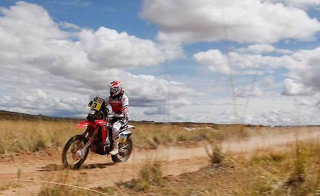 HTC Honda's Joan Barreda won his third stage of the 2014 Dakar Rally today, Stage 7 from Salta, Argentina to Uyuni, Bolivia. Barreda remains second overall, some 38 minutes off the lead pace. PHOTO COURTESY OF HRC HONDA RACING.