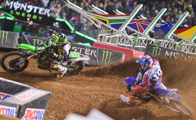Defending Monster Energy AMA Supercross Champion Ryan Villopoto (1) landed his 35th career 450cc main event win tonight in Phoenix after passing Justin Brayton (10) midway through the 20-lap main. It was also Villopoto's first 450cc main event win in Phoenix. STORY AND PHOTOS BY STEVE COX.