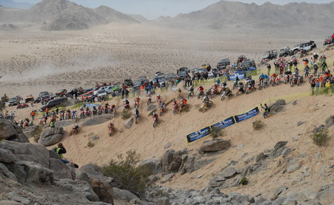 The second loop featured a land-rush into the rock-strewn canyon known as Chocolate Thunder. Only 50 of 83 riders made the second loop, which claimed another 25 riders before the finish.