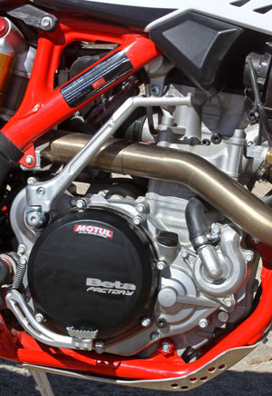 Betas used to use KTM SOHC singles to power its four-strokes. Now the Italians have their own proprietary DOHC motor.