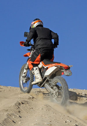 The KTM is most effective at higher rpm, making it less tractable than the Beta and more likely to spin the rear wheel in loose terrain.