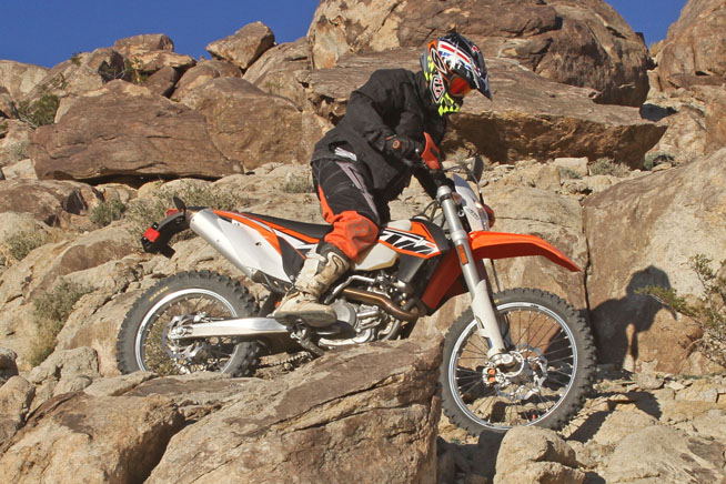 The KTM's chassis is nimble and precise, with light steering and amazing accuracy. The gnarlier the trail, the more we liked the 500 EXC.