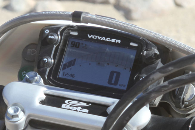 The Beta is fitted with Trail Tech's awesome Voyager GPS/speedometer unit, an amazing piece of equipment that adds a lot of Value to the 520 RS.