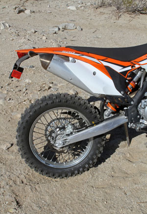 KTM's fully adjustable WP shock and linkage-free Progressive Damping System rear end deliver over 13 inches of plush travel with excellent control.