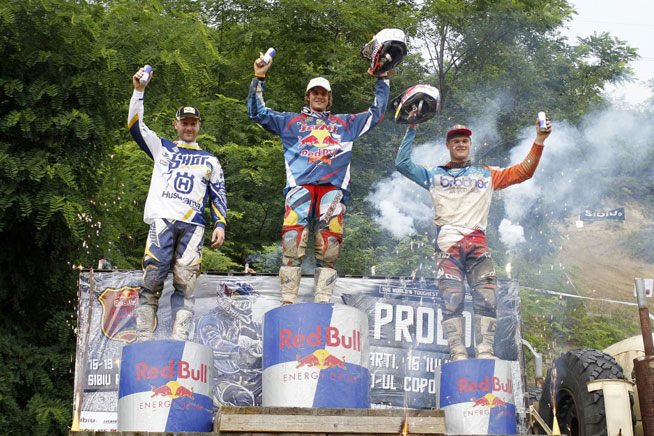 Red Bull Romanics winner Walker (center) is flanked by runner-up Jarvis (left) and third-place finisher Wade Young (right), who created quite a stir by finishing on the Red Bull Romaniacs podium at just 18 years of age. PHOTO BY FUTURE7MEDIA, COURTESY OF KTM IMAGES.