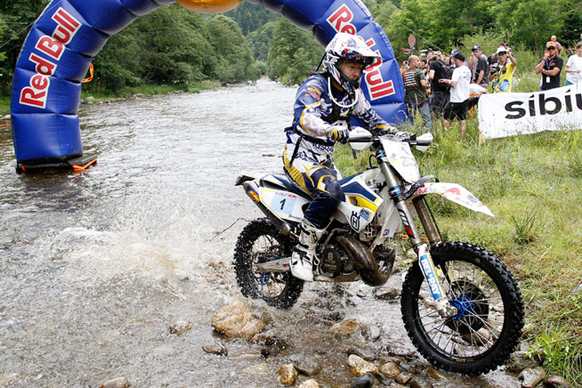 Bel-Ray Husqvarna's Graham Jarvis is a four-time Red Bull Romaniacs winner who was seeking an unprecedented fifth win in the 2014 event. Jarvis came about 13 and a half minutes short and had to settle for second place. PHOTO COURTESY OF HUSQVARNA MOTORCYCLES GmbH.
