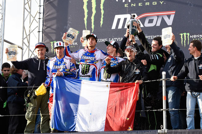 France had a banner day at the 2014 Monster Energy Motocross of Nations, claiming the win for the first time since 2001. It was only the second time that the country has ever won the prestigious event. PHOTOS BY TAKURO NAGAMI.