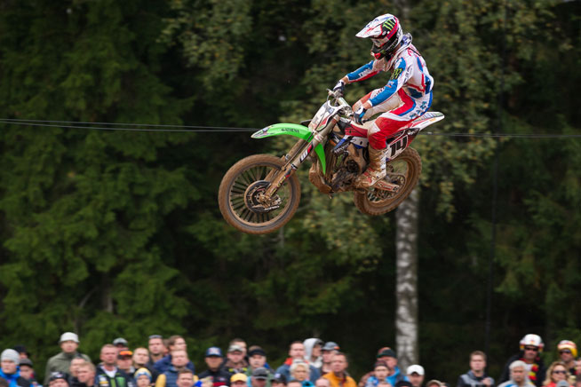 Fracne's Dylan Ferrandis absolutely flew aboard his KX-250F in the MX2 class, putting together 9-9 moto finishes against the bigger bikes to keep France on cruise in the overall points tally, heading into the third moto.