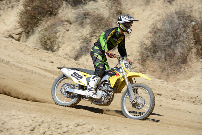 With very little tweaking, test rider Ryan Abbatoye found happiness with the RM-Z450's new SFF-Air fork and Showa piggyback reservoir shock. Both ends boast 12.2 inches of smooth and cushy travel without excellent bottoming resistance.