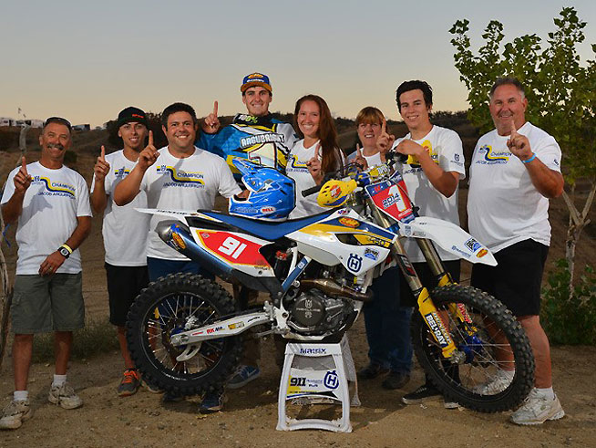 Argubright celebrates with his crew and family after earning the 2014 AMA West Hare Scrambles Championship. It was his first career AMA title. PHOTO BY MARK KARIYA.