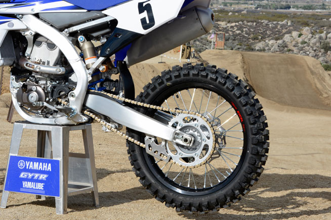 Some of the detail changes to the 2015 YZ450F include Dunlop MX52 tires, black-anodized Excel Rims, a 48T sprocket instead of a 49T, and a gold-anodized D.I.D. chain with a corrosion-resistant coating.
