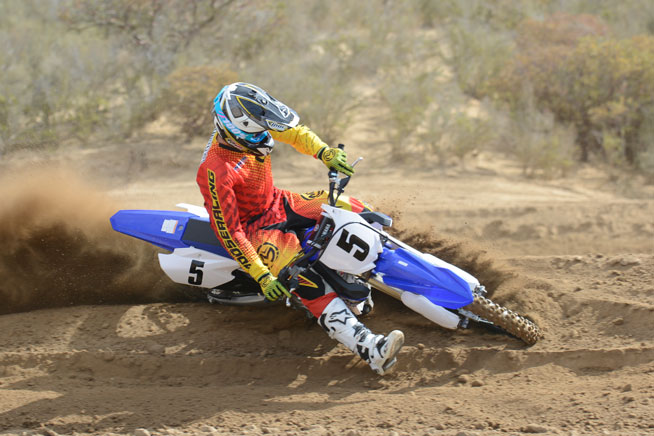 Cornering feel and precision are greatly improved on the 2015 YZ450F, but be careful with the throttle on the exit of the turn. It's hard to steer the front wheel when it's in the air.