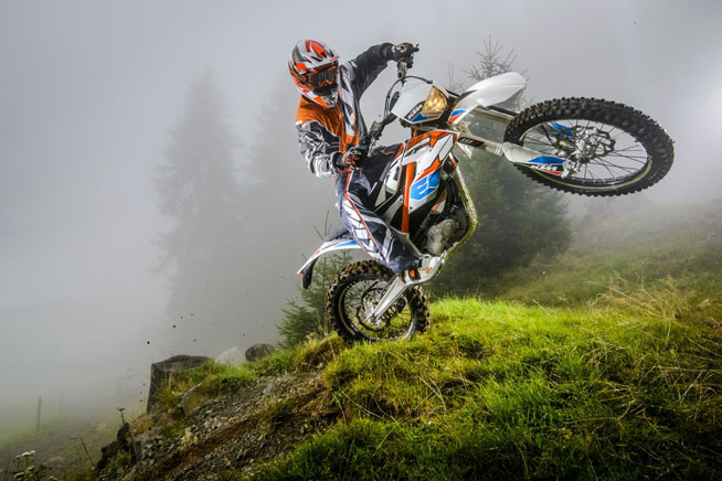 KTM has announced the availability of two electric-powered Freeride E models for 2015. The E-XC, shown here, is an all-around off-road machine with lights, and is capable of being used on the road. The E-SX is designed for motocross use. PHOTO BY S. ROMERO/KTM IMAGES.