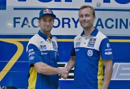Max Nagl (left) shakes hands with team manager Antti Pyhronen (right) upon joining the Red Bull IceOne Husqvarna team for the 2015 FIM World Motocross Championship. PHOTOS COURTESY OF HUSQVARNA MOTORCYCLES GmbH.