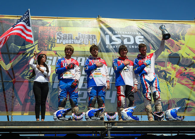 The U.S. Junior World Trophy Team stood atop the podium at the International Six Days Enduro for the first time since 2006. The event took place in San Juan, Argentina, November 3-8. PHOTOS COURTESY OF KTM IMAGES.