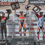 MotoGP Champion Marc Márquez confirmed what we already knew, that he can ride dirt track as well as he road races, when he won the Superprestigio II Dirt Track in Barcelona Spain, on December 13. Márquez was joined on the podium by Americans Jared Mees (left) and Kenny Noyes (right). PHOTO COURTESY OF DTXBARCELONA.COM.