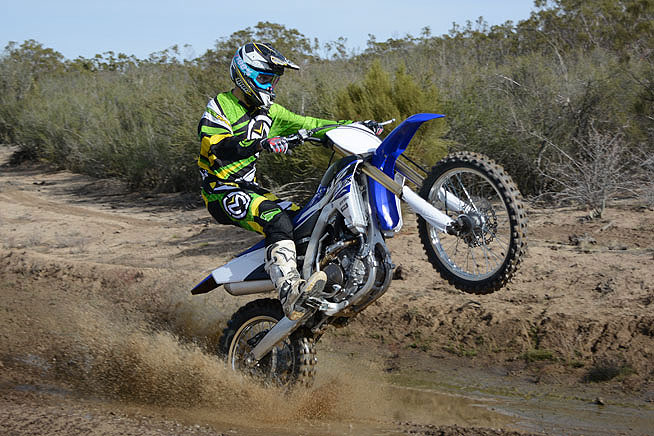 The FX is fast and light on its feet even though it weighs 18 pounds more than the YZ250F.