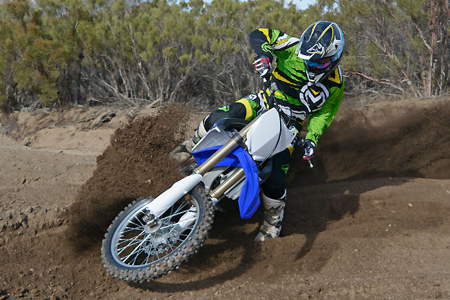 The YZ250FX steers like a feather, changing direction almost as willingly as the YZ250F.