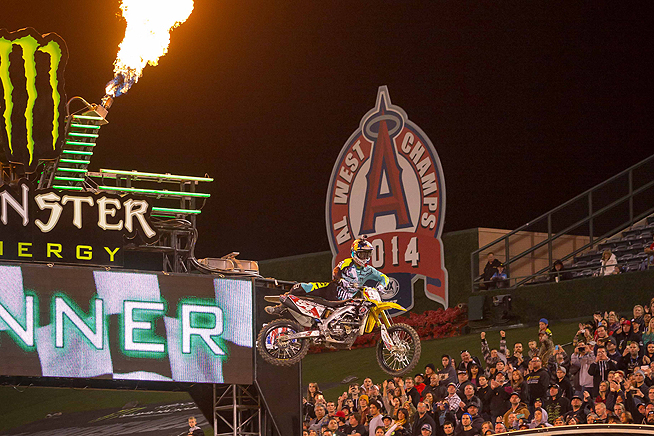 Ken Roczen claimed his second Monster Energy AMA Supercross win of the season and the fourth of his career at round three of the series at Angel Stadium in Anaheim, California. PHOTOS BY RICH SHEPHERD.