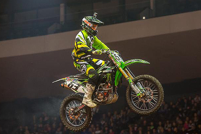 Chris Blose led an all Babbitt's Kawasaki sweep of the top four spots during the AMSOIL Arenacross opener at U.S. Bank Arena, Saturday night. PHOTO BY JOSH RUD/SHIFTONE PHOTOGRAPHY.