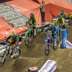 Kyle Regal (4) needed a tiebreaker to claim his first AMSOIL Arenacross win of 2015 at Broadmoor World Arena in Colorado Springs, Colorado, on Saturday night. PHOTO BY JOSH RUD/SHIFTONE PHOTOGRAPHY.