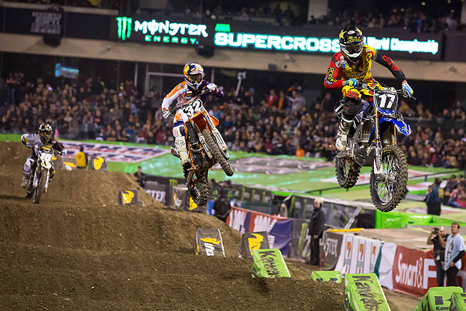 Cooper Webb (17) backed up his 250cc West main event win last weekend in Phoenix with another win at Anaheim II. The Yamaha star had to come from deep in the field to get the job done. Red Bull KTM's Justin Hill (32) finished third.