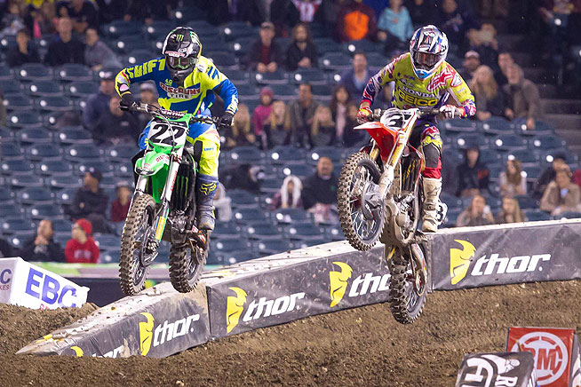 Chad Reed (22) ran third at one point in the 450cc main, but Phoenix Supercross winner Eli Tomac (3) eventually claimed the final podium spot.