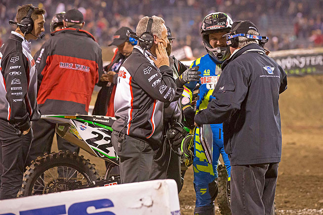 Reed argues with FIM official John Gallagher after being black-flagged for running Team Honda's Trey Canard off the track. The court of public opinion appears to be divided as to whether the punishment fit the crime.