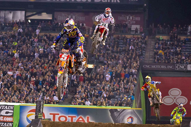 Dungey (5) got out front and was able to distance himself from Team Honda's Cole Seely (14), who turned in a career-best second-place finish. PHOTO BY RICH SHEPHERD.
