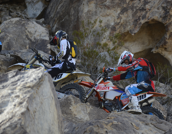 After two laps, Haaker (left) and Graffunder (right) were this far apart, caught in a traffic jam on Waterfall.
