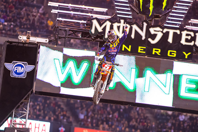 Red Bull KTM's Ryan Dungey earned his first win of the 2015 Monster Energy AMA Supercross season at the Anaheim III Supercross. PHOTO BY SIMON CUDBY.