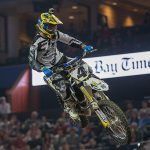 Kyle Regal put together a consistent 2-2 main event performance to claim the overall win during the AMSOIL Arenacross at Amalie Arena in Tampa, Florida, February 21. PHOTOS BY JOSH RUD/SHIFTONE PHOTOGRAPHY.
