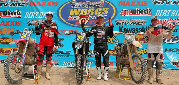 Bell (center) was flanked on the Pro podium by Jones (left) and third-place finisher Blayne Thompson (right).