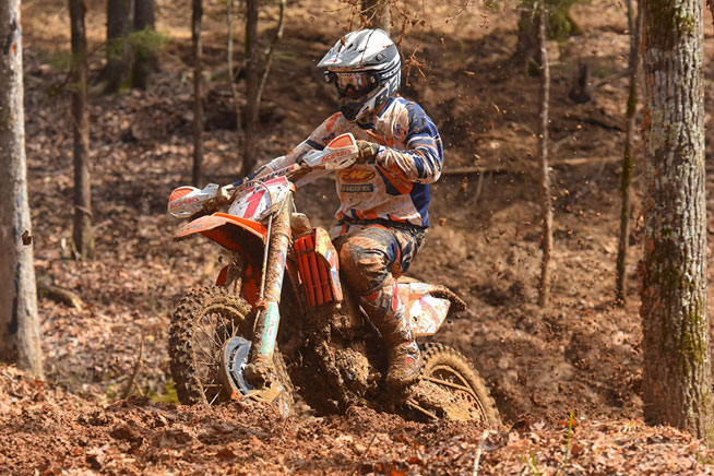 Kailub Russell is working on an AMSOIL GNCC win streak that dates back to the end of last season. The two-time and defending series champion will attempt to extend it to four wins at the FMF Steele Creek GNCC in North Carolina this weekend. PHOTO BY KEN HILL.