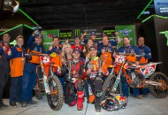 Ryan Dungey (foreground, left), Marvin Musquin (foregound, right) and the Red Bull KTM crew celebrated their fourth main event sweep of the year at the St. Louis Supercross Saturday night. PHOTOS BY RICH SHEPHERD.
