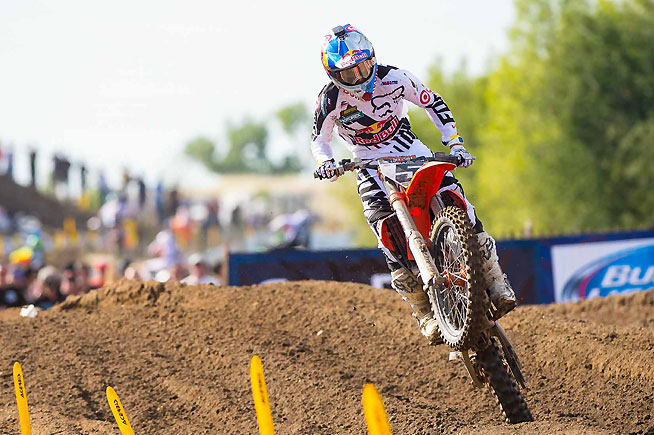 Ryan Dungey went a solid 2-2 for second overall. Afterward, Dungey promised that he will have more for Tomac during round two of the series at Glen Helen Raceway next weekend.