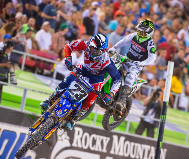 Weston Peick (23), shown here competing in the 2015 Monster Energy AMA Supercross Series, has signed a contract extension with the Joe Gibbs Racing-owned AutoTrader.com/Toyota/Yamaha team. Peick will race for the team through 2016. PHOTO BY RICH SHEPHERD.