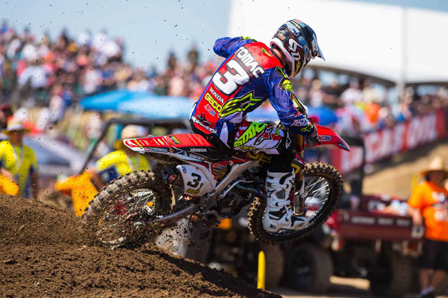 Eli Tomac showed the 450cc field his backside at the 47th GoPro Hangtown Motocross Classic near Sacramento, Saturday. Tomac went 1-1--winning the second moto by over 90 seconds--to claim the 2015 Lucas Oil Pro Motocross Championship opener. PHOTOS BY RICH SHEPHERD.