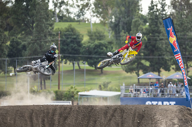 James Stewart (left) battles brother Malcolm Stewart (right) during the 2014 Red Bull Straight Rhythm at the Pomona Fairgrounds in Southern California. The unique head-to-head event returns to the Fairplex October 11. James Stewart is expected to defend his 2014 Straight Rhythm title. PHOTO COURTESY OF RED BULL CONTENT POOL.
