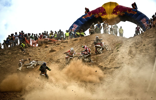 The only five competitors to finish the 2015 Red Bull Hare Scramble in Austria try to make their way up the final climb to the finish of the grueling event on Sunday. In the end, four of them shared in a four-way tie for the win. PHOTO COURTESY OF RED BULL CONTENT POOL.