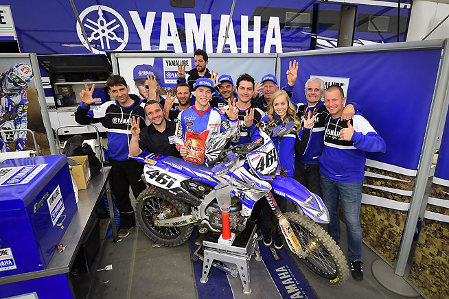 Febvre and his Yamaha Factory Racing Yamalube crew celebrate another MXGP win. Could this be the year for the Blu Cru in the World Championship?