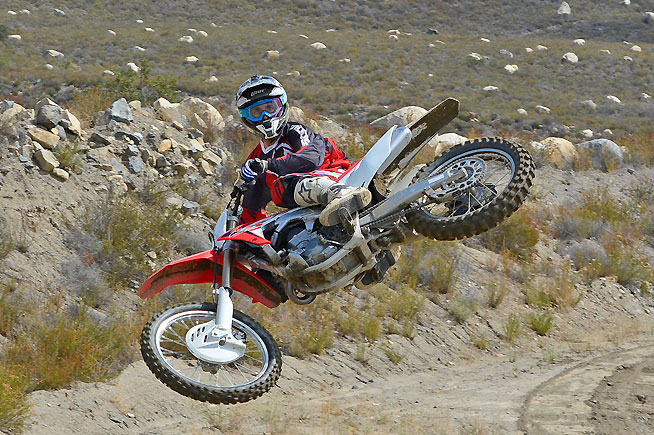 After major engine and suspension revisions in 2015, Honda's CRF450R features comparatively minor changes for 2016, but they deliver a significant performance improvment over the previous model. PHOTOS BY SCOTT ROUSSEAU.